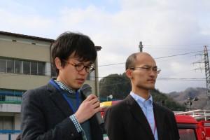 ▲火災の防止を誓う逢見祥平(左)さんと松永充信さん(右)